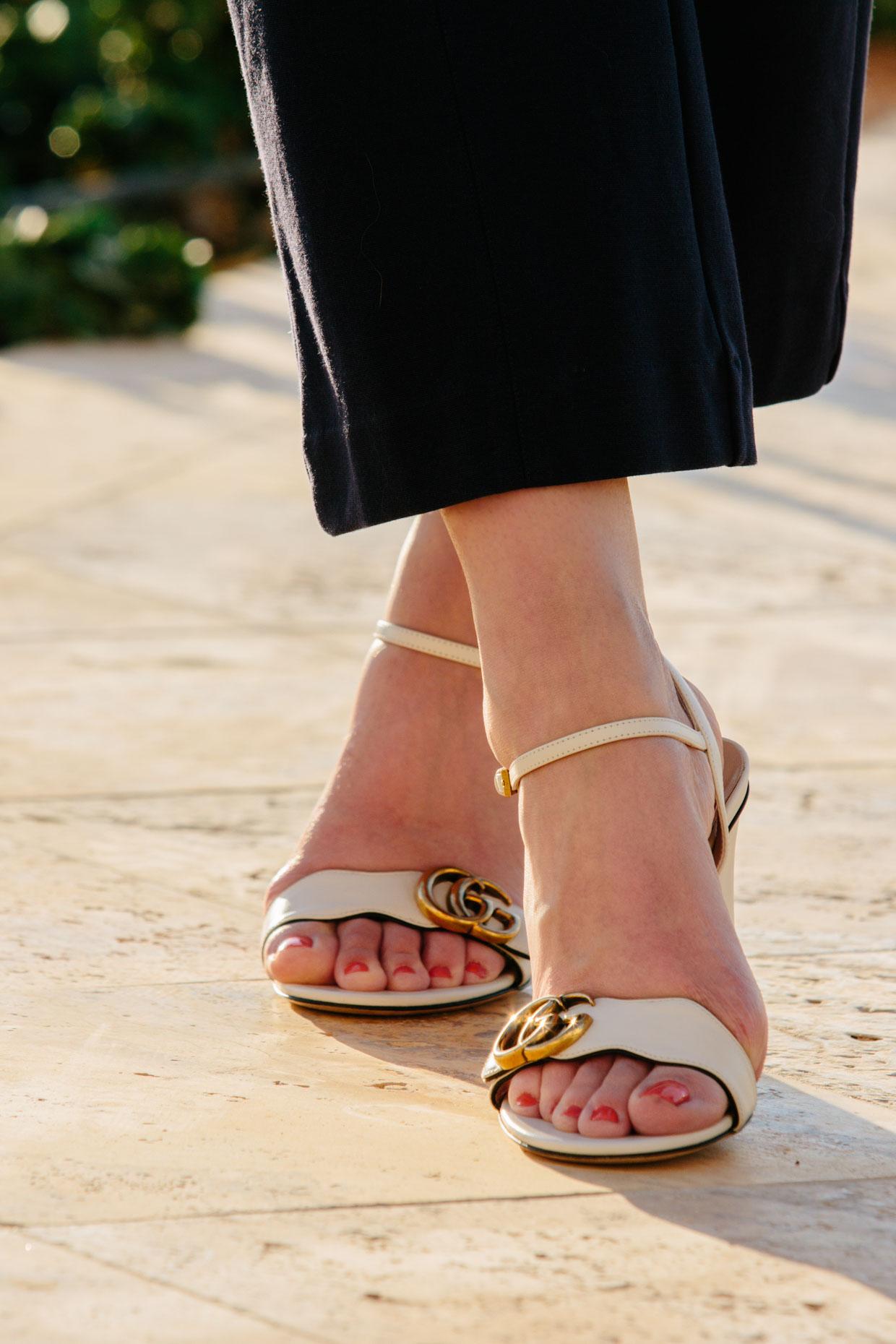 Gucci white Marmont sandals - Meagan's Moda