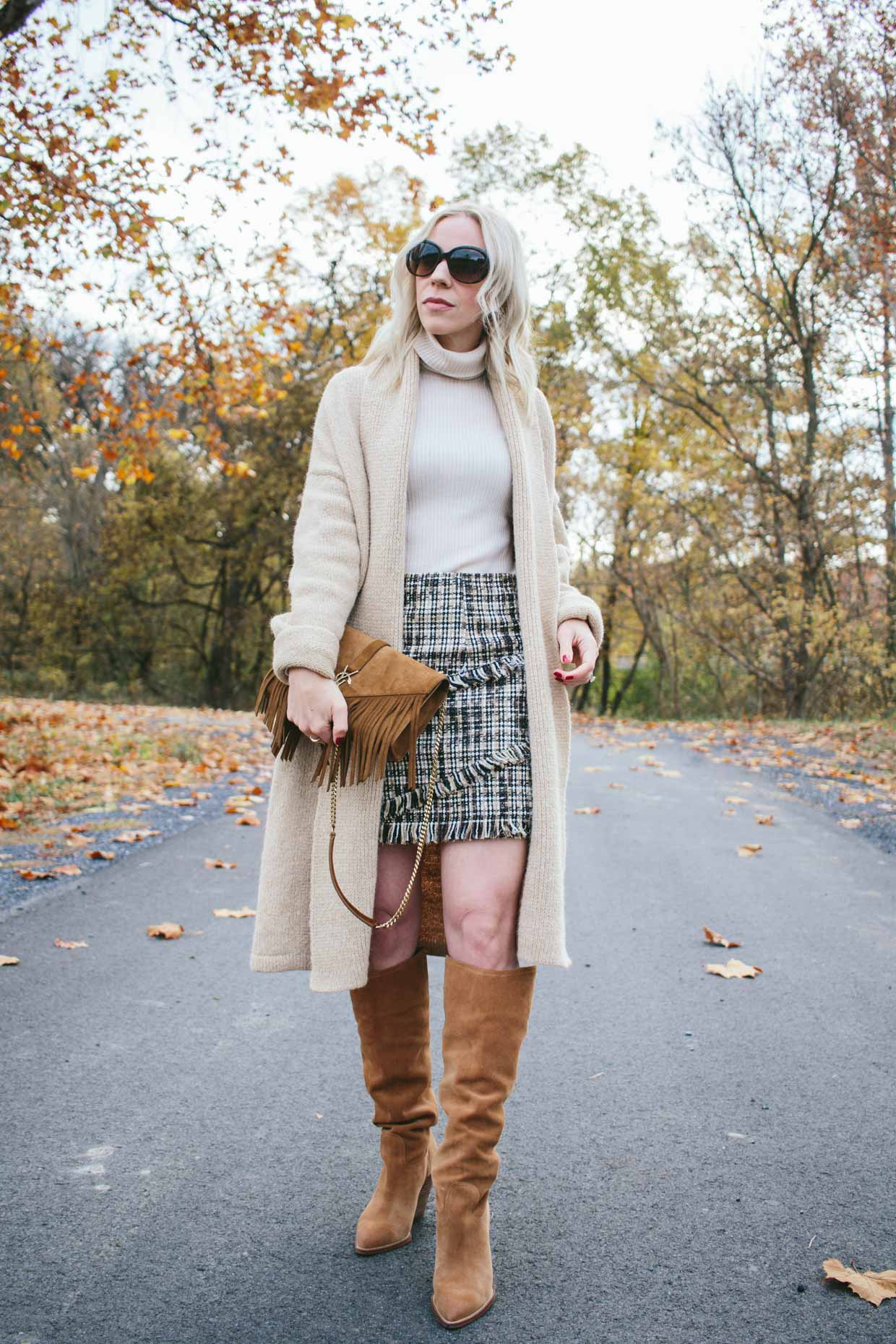 Meagan Brandon fashion blogger of Meagan's Moda wears long camel cardigan with cream turtleneck sweater and tweed mini skirt Thanksgiving outfit idea