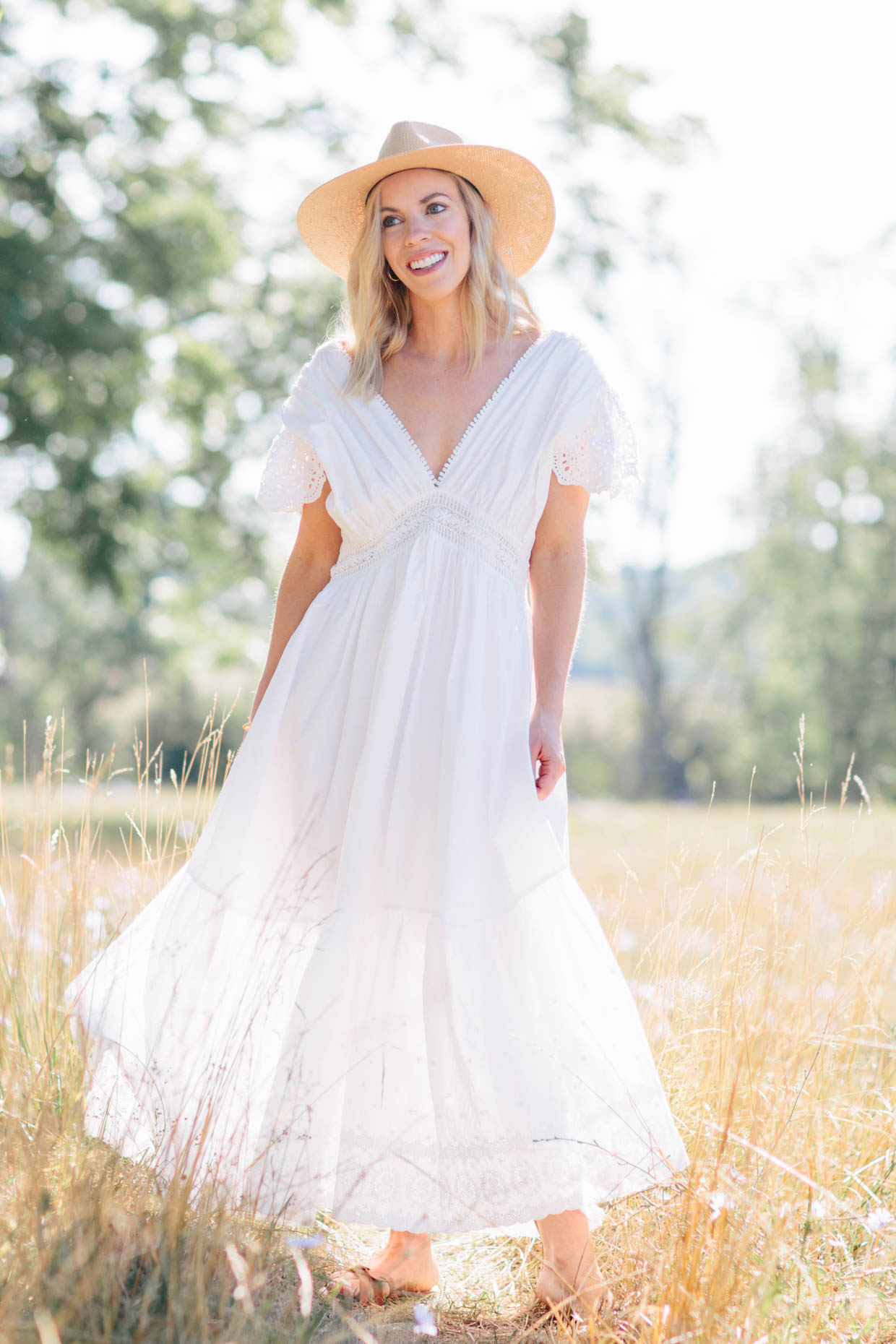 Meagan Brandon fashion blogger of Meagan's Moda wears Chicwish white eyelet maxi dress with Janessa Leone straw hat