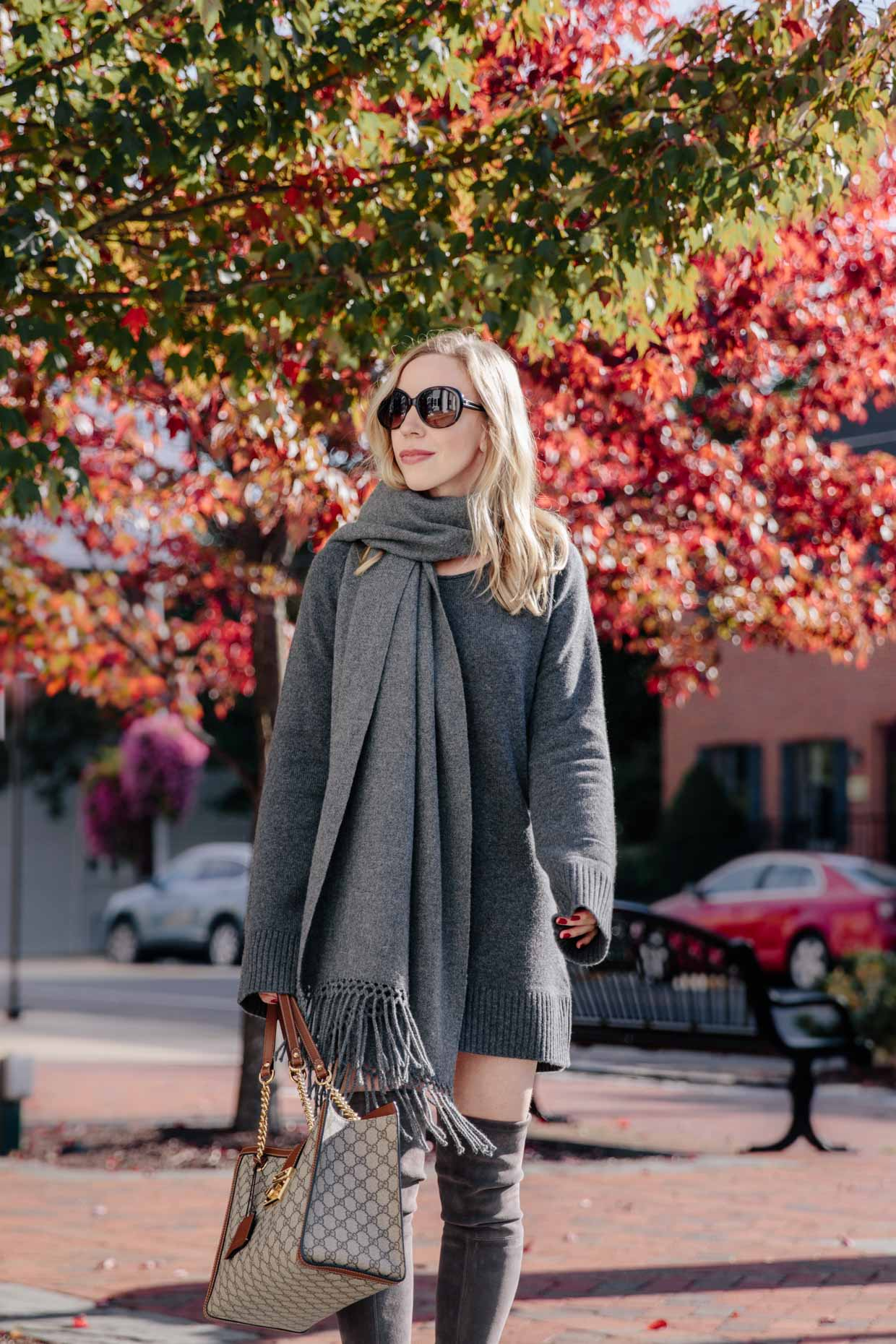 Meagan Brandon fashion blogger of Meagan's Moda wears State Cashmere gray mini sweater dress with oversized scarf and over the knee boots