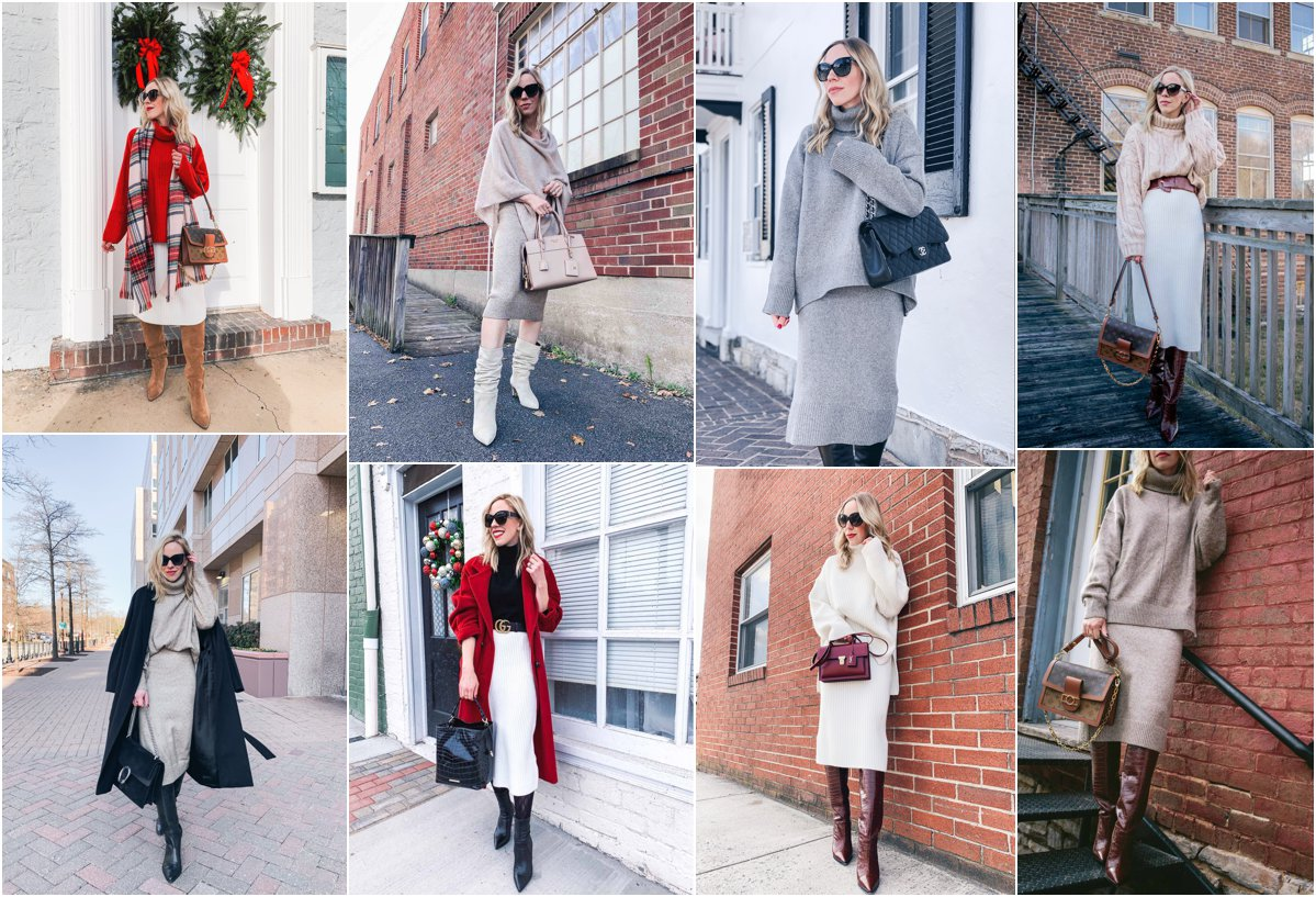 Meagan Brandon fashion blogger of Meagan's Moda shows how to wear knit skirts for chic winter and holiday outfit ideas