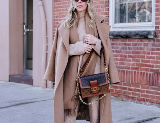 Meagan Brandon fashion blogger of Meagan's Moda wears monochromatic camel outfit with Max Mara Manuela coat and knit pants set