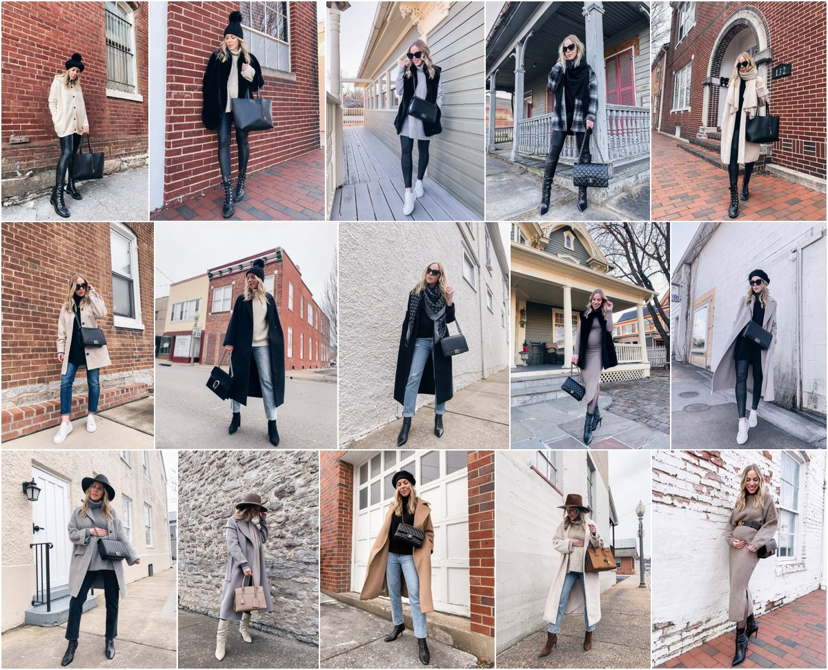 Meagan Brandon fashion blogger of Meagan's Moda shares winter maternity style outfits for second trimester pregnancy style