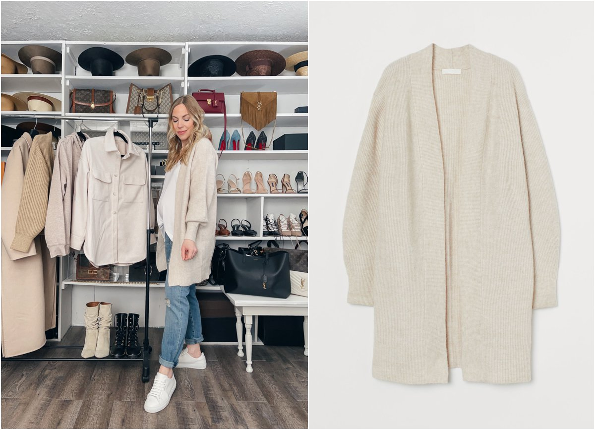 Meagan Brandon fashion blogger of Meagan's Moda wears H&M beige long cardigan with HATCH boyfriend jeans