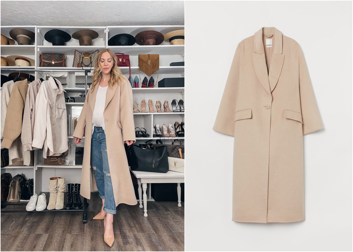 Meagan Brandon fashion blogger of Meagan's Moda wears beige oversized wool coat, H&M affordable stylish coats