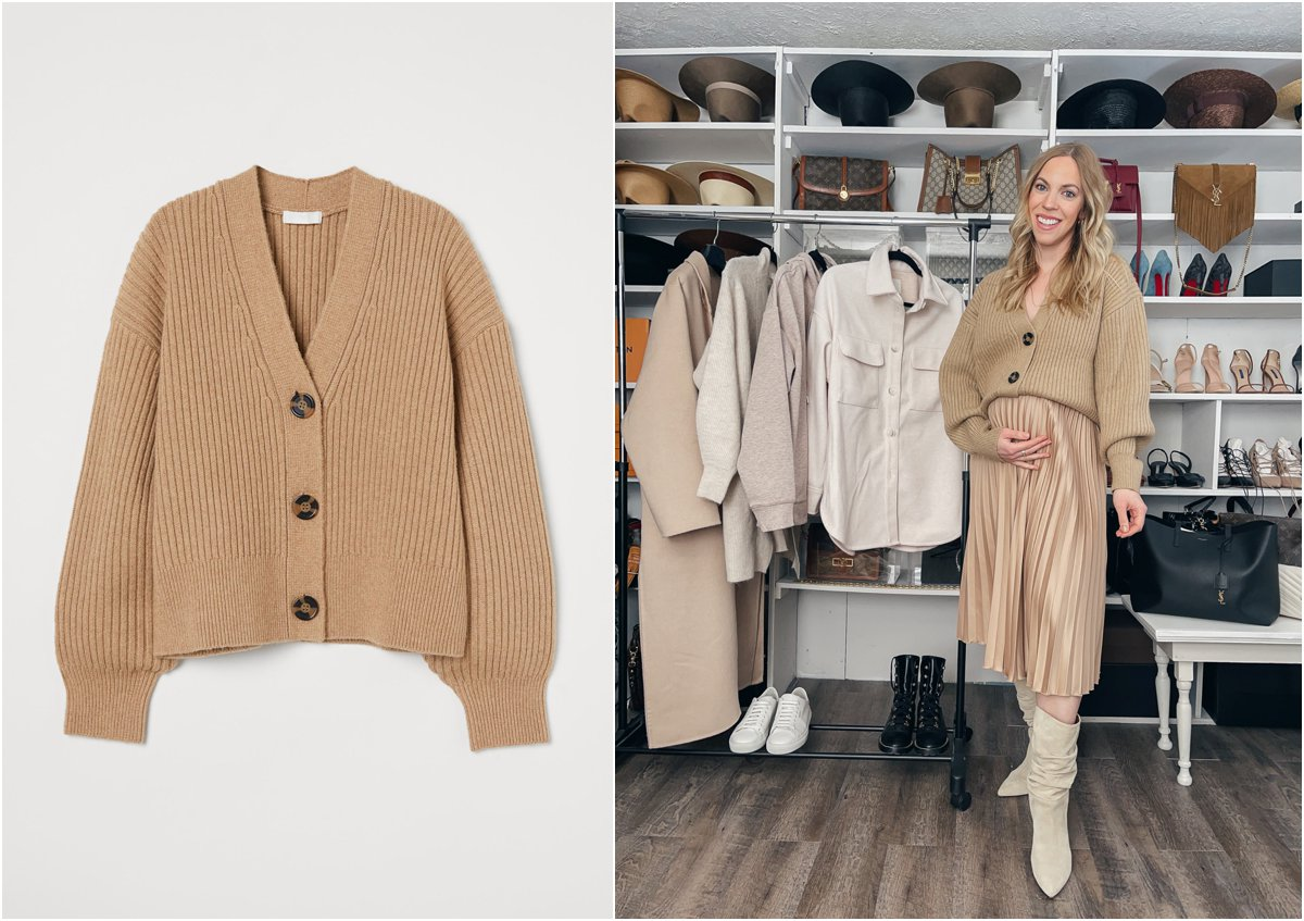 Meagan Brandon fashion blogger of Meagan's Moda wears camel cropped cardigan with pleated skirt and slouchy boots maternity outfit