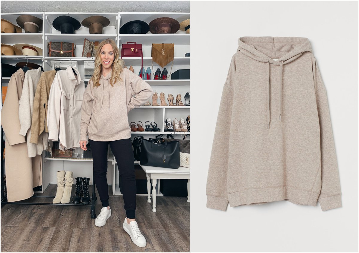 Meagan Brandon fashion blogger of Meagan's Moda wears oversized hoodie with maternity joggers and white sneakers, best maternity joggers