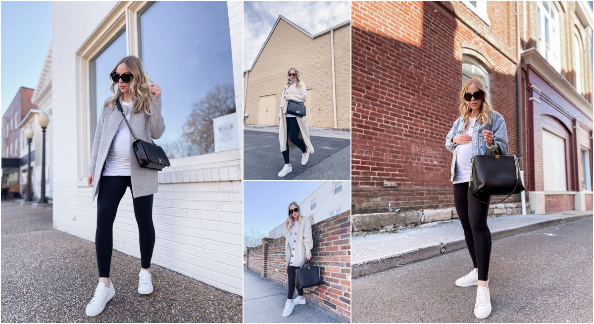 Meagan Brandon fashion blogger of Meagan's Moda shares maternity outfit ideas with white tee and leggings