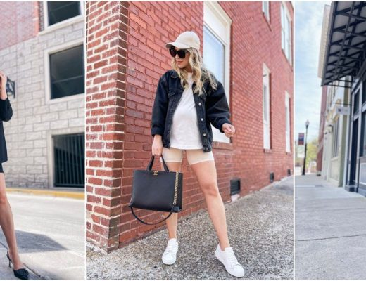 Meagan Brandon style influencer shows how to wear maternity bike shorts, Blanqi girl shorts