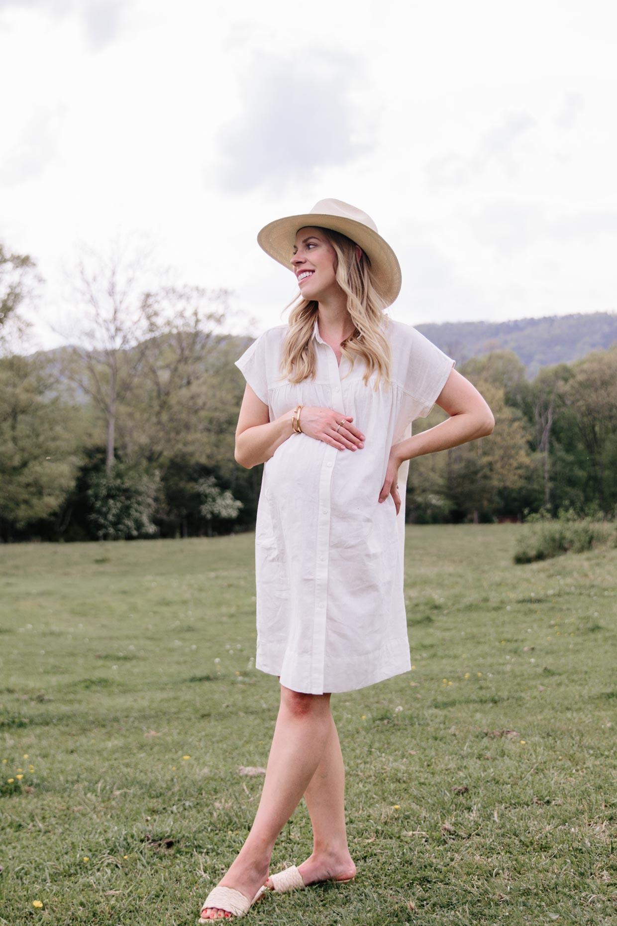 Meagan Brandon fashion blogger Meagan's Moda wears The Nines by Hatch maternity dress for Target