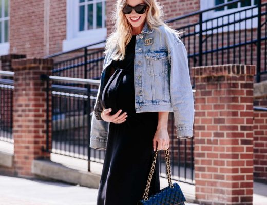 Meagan Brandon of Meagan's Moda wears BB Dakota tie waist black maternity dress from Pea in the Pod