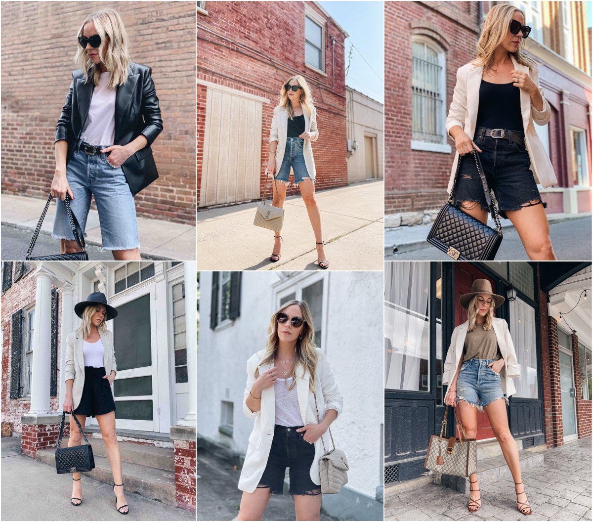 Meagan Brandon of Meagan's Moda shares ways to wear a blazer with denim shorts for late summer and early fall, blazer with shorts outfit ideas