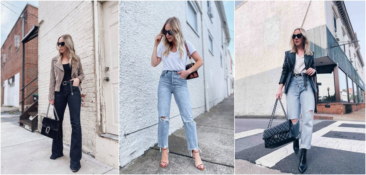 Meagan Brandon of Meagan's Moda shares denim trends for fall 2021. flares straight leg and loose fit 90s jeans