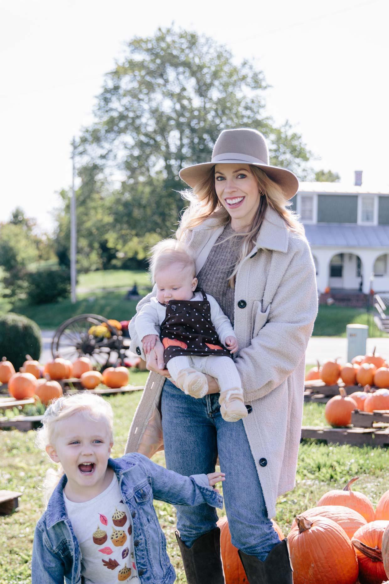 Meagan Brandon of Meagan's Moda shares outfit ideas for pumpkin patch photos